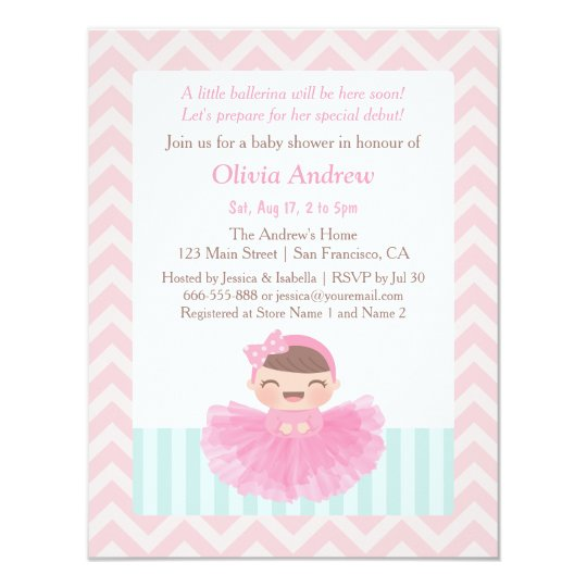 Chevron Ballerina Girl Baby Shower Invitations Zazzlecom