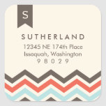 Chevron Banner Monogram Address Label Sticker