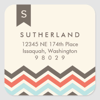 Chevron Banner Monogram Address Label Sticker