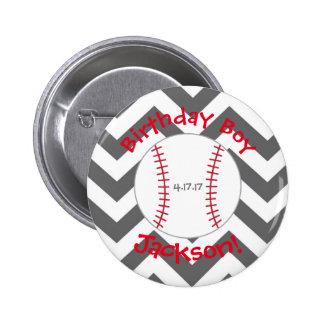 Chevron, Baseball Birthday Button- Special Bday Button