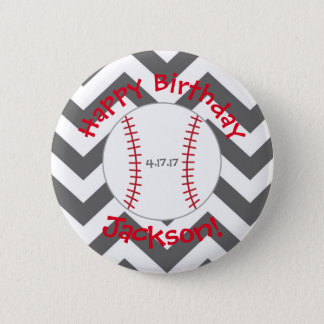 Chevron, Baseball Birthday Button- Special Bday Button