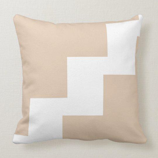 Chevron Beige and White Throw Pillow