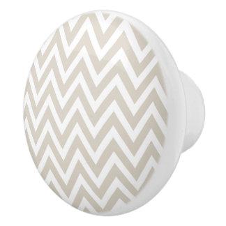 Chevron beige de lino pomo de cerámica