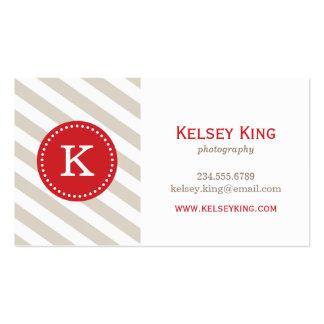 Chevron beige y rojo de lino raya el monograma tarjetas de visita
