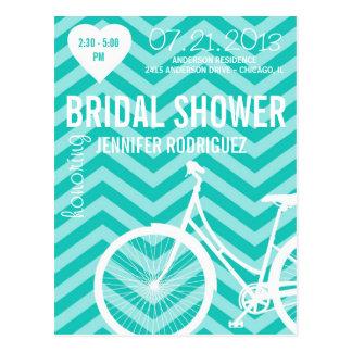 Chevron Bicycle Bridal Wedding Shower Postcard