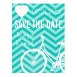 Chevron Bicycle Wedding Save the Date Postcard