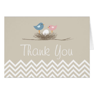 Chevron Bird's Nest Thank You Card