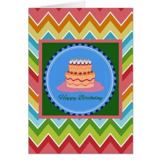 Chevron Birthday Card with Birthday Cake