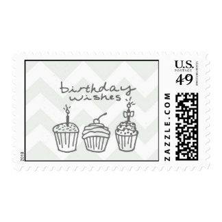 Chevron Birthday in muted gray Postage