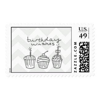 Chevron Birthday in muted gray Postage Stamp
