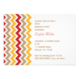Chevron Birthday Party Invitation Fall Colors