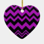 Chevron black and Purple Ornaments