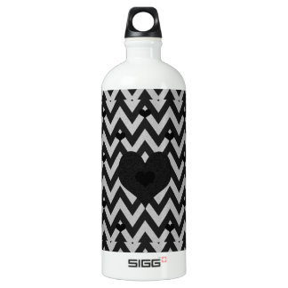 Chevron Black and Silver Heart Pattern Aluminum Water Bottle