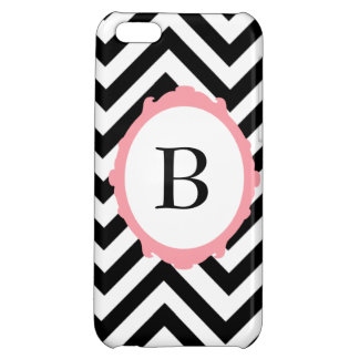 Chevron Black and White Pink Frame Monogram Case Case For iPhone 5C