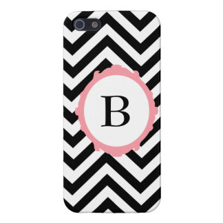 Chevron Black and White Pink Frame Monogram Case Covers For iPhone 5