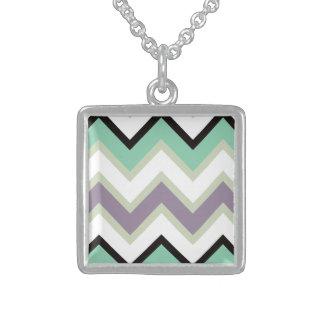 Chevron black and white square pendant necklace
