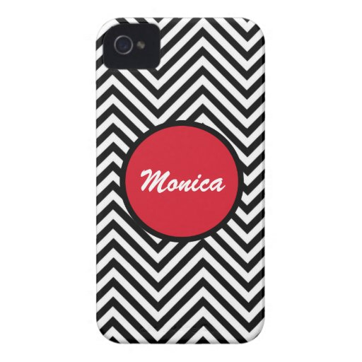 Chevron black red girly name iPhone 4 cases