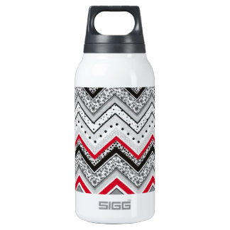 Chevron Black Red Gray Insulated Water Bottle