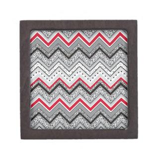 Chevron Black Red Gray Jewelry Box