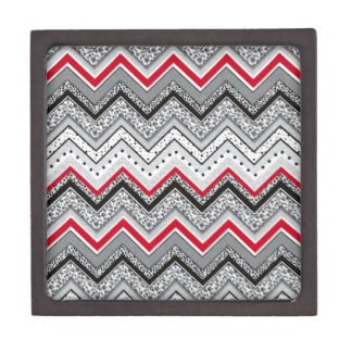 Chevron Black Red Gray Keepsake Box