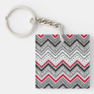 Chevron - Black Red Gray Keychain