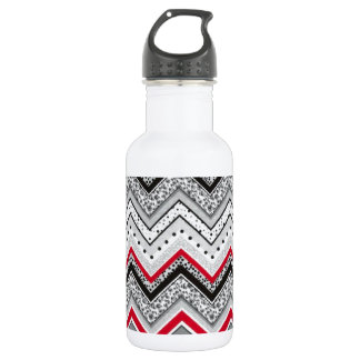 Chevron Black Red Gray Stainless Steel Water Bottle