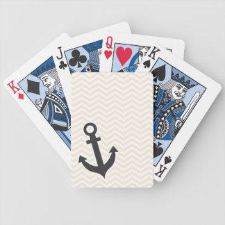 Chevron blanco antiguo; zigzag; Ancla Baraja Cartas De Poker