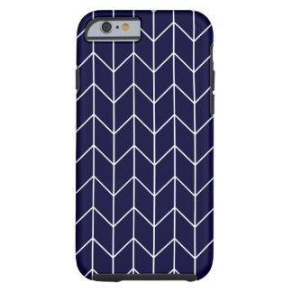 Chevron blanco en moda moderna de los azules funda para iPhone 6 tough