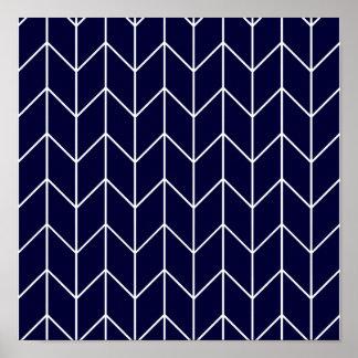 Chevron blanco en moda moderna de los azules póster