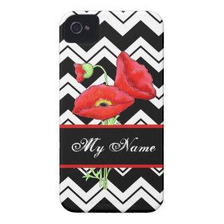 Chevron blanco negro personalizado amapola roja Case-Mate iPhone 4 fundas