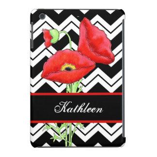 Chevron blanco negro personalizado amapola roja fundas de iPad mini