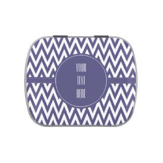 Chevron blanco púrpura jarrones de caramelos