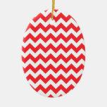 Chevron blanco rojo ornaments para arbol de navidad