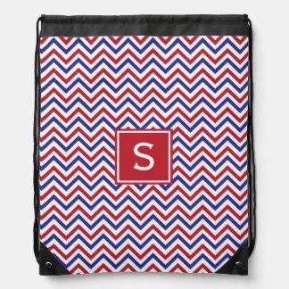 Chevron blanco y azul rojo mochila