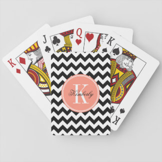 Chevron blanco y negro con el monograma coralino cartas de póquer