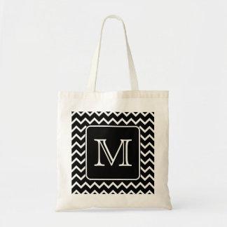 Chevron blanco y negro con el monograma de encargo bolsa tela barata