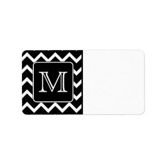 Chevron blanco y negro con el monograma de encargo etiqueta de dirección