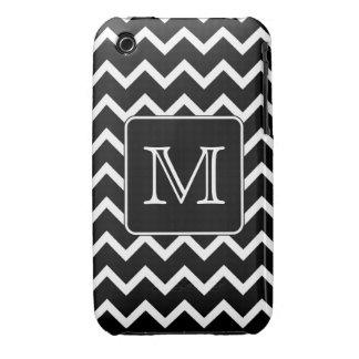 Chevron blanco y negro con el monograma de encargo Case-Mate iPhone 3 funda