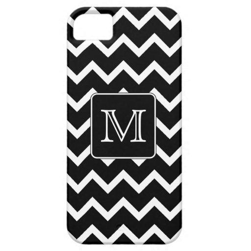 Chevron blanco y negro con el monograma de encargo iPhone 5 Case-Mate coberturas