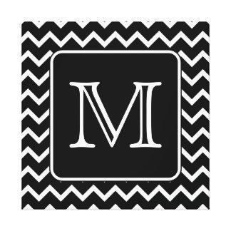 Chevron blanco y negro con el monograma de encargo impresión en lona estirada