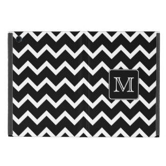 Chevron blanco y negro con el monograma de encargo iPad mini cárcasas