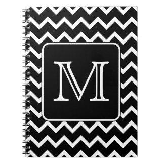 Chevron blanco y negro con el monograma de encargo libro de apuntes