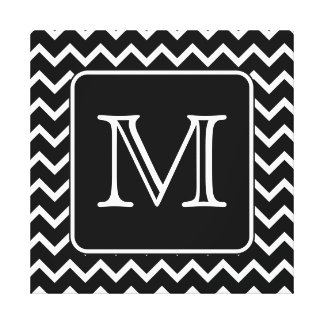 Chevron blanco y negro con el monograma de encargo lona estirada galerías