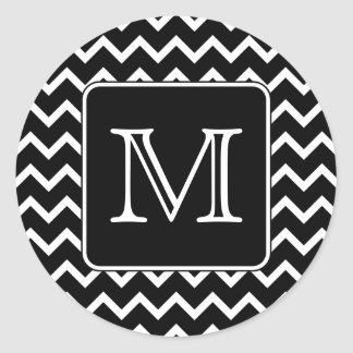 Chevron blanco y negro con el monograma de encargo etiquetas