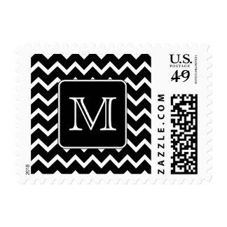 Chevron blanco y negro con el monograma de encargo sellos postales