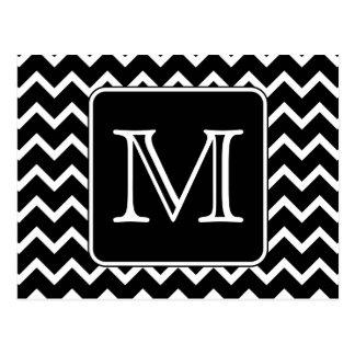 Chevron blanco y negro con el monograma de encargo tarjetas postales