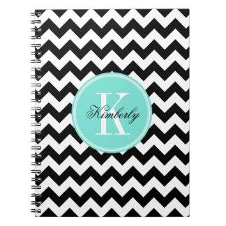 Chevron blanco y negro con el monograma de la cuadernos