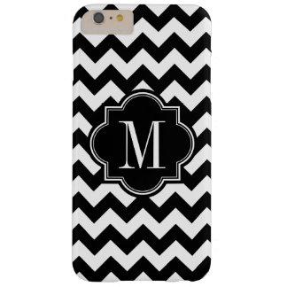 Chevron blanco y negro con el monograma negro funda barely there iPhone 6 plus