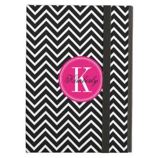 Chevron blanco y negro con el monograma rosado