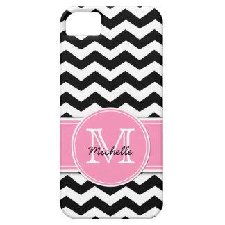 Chevron blanco y negro con el rosa de Bubblegum iPhone 5 Coberturas